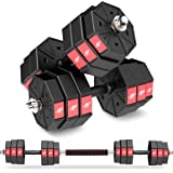 LEADNOVO Adjustable Weights Dumbbells Set, 44Lbs 66Lbs 88Lbs 3 in 1 Adjustable Weights Dumbbells Barbell Set, Home Fitness We