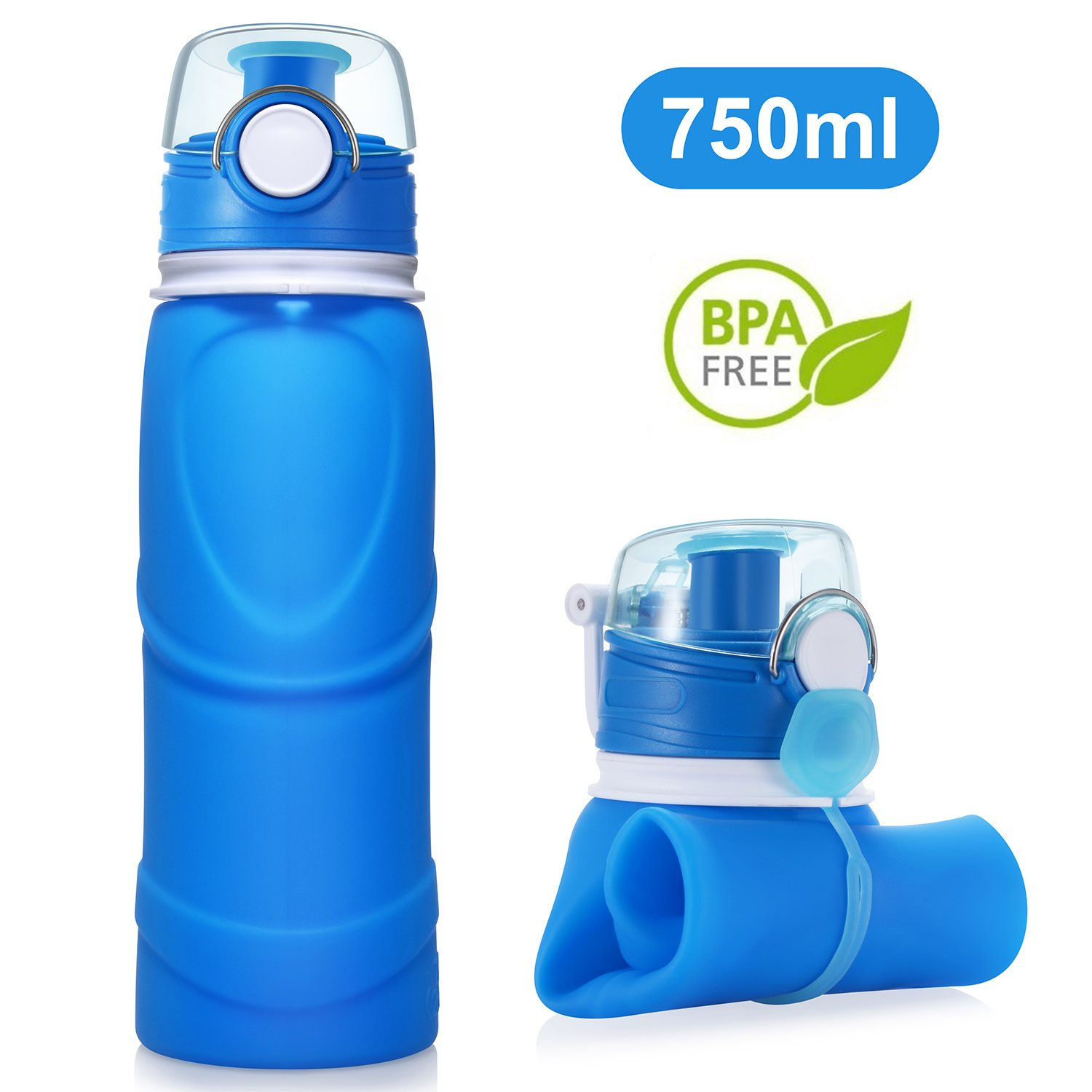 TURN RAISE Travel Collapsible Water Bottle 750ml Silicone Foldable Bottle with Leak Proof Valve by TURN RAISE