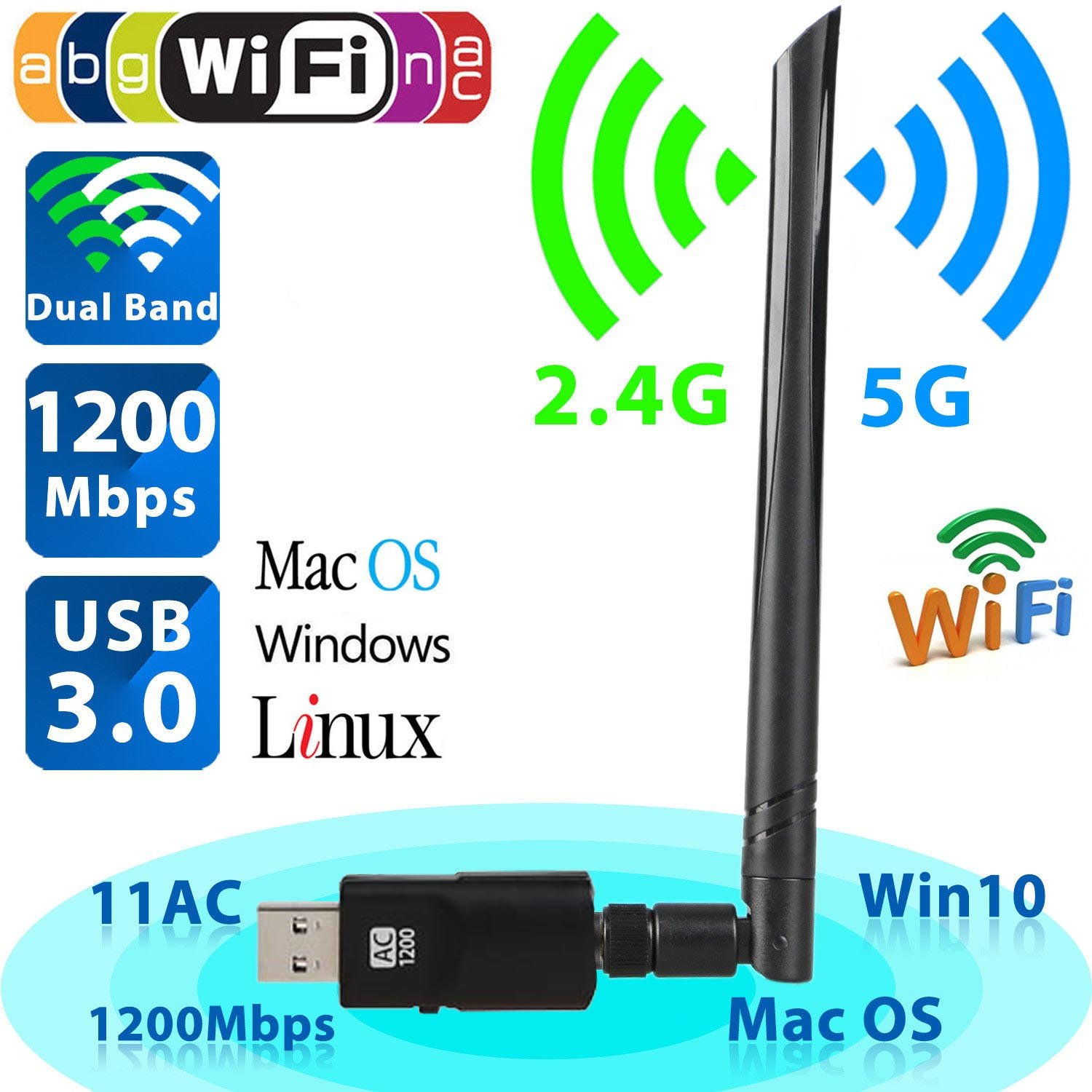 USB Wifi Adapter 1200Mbps, USB 3.0 Wireless Network Wifi Dongle with 5dBi Antenna for PC/Desktop/Laptop/Tablet,Dual Band 2.4G/5G 802.11 ac,Support Windows 10/8/8.1/7/Vista/XP/2000, Mac OS 10.4-10.13.