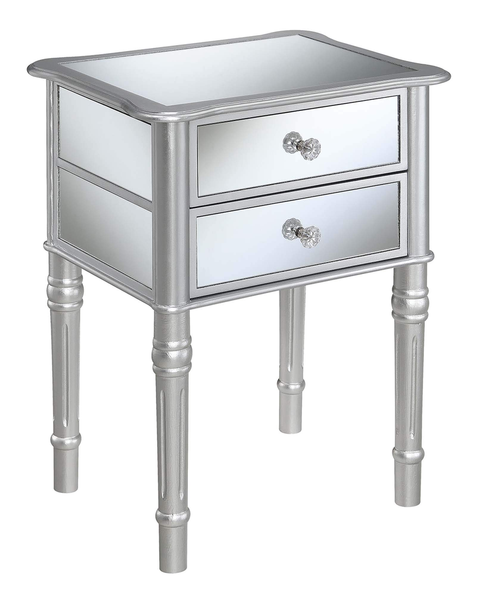 Convenience Concepts 413745SS Gold Coast Mayfair End Table, Silver/Mirror (Renewed) by Convenience Concepts