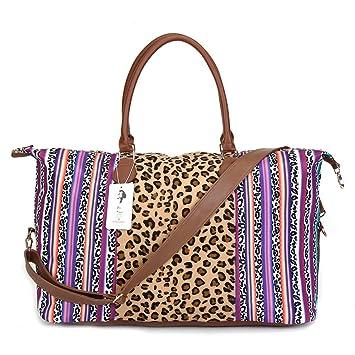 07b959ca2be9 Amazon.com | Serape Leopard Weekender Bag Travel Duffle Bag For Women  Canvas Large Tote Shoulder Bag With Shoulder Strap | Travel Duffels