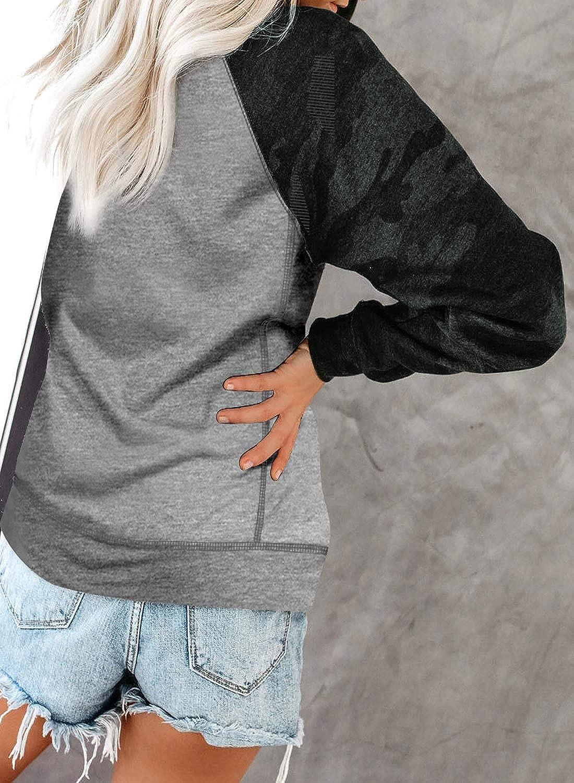GOSOPIN Women Crewneck Pullover Long Sleeve Camo Print Sweatshirts