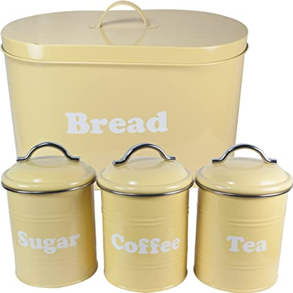 West5products Yellow Vintage Retro Design Metal Bread Bin Tea Coffee