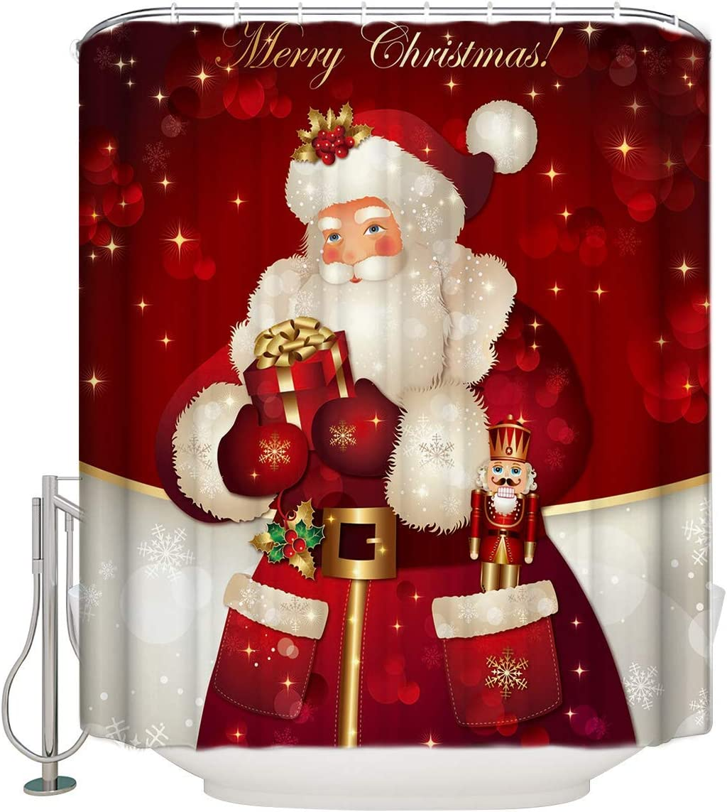 "Unique Custom Merry Christmas Dreamlike The Santa Claus Waterproof Fabric Polyester Shower Curtain Bathroom Decor Extra Long 72"" x 84"""