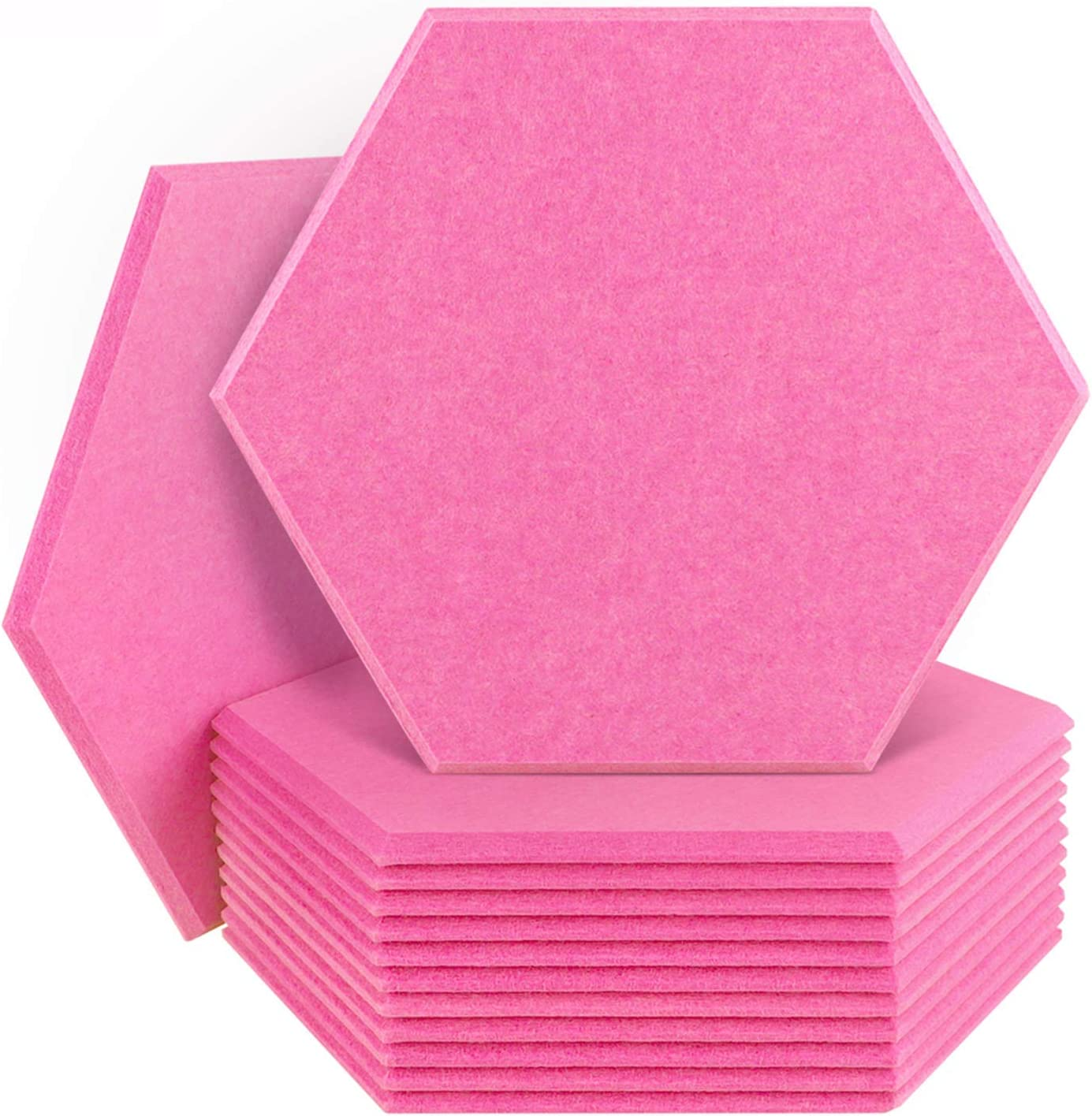 DEKIRU 12 Pack Acoustic Panels Sound Proof Padding, 14 X 13 X 0.4 Inches Sound dampening Panel Used in Home & Offices(Hexagon,Pink)