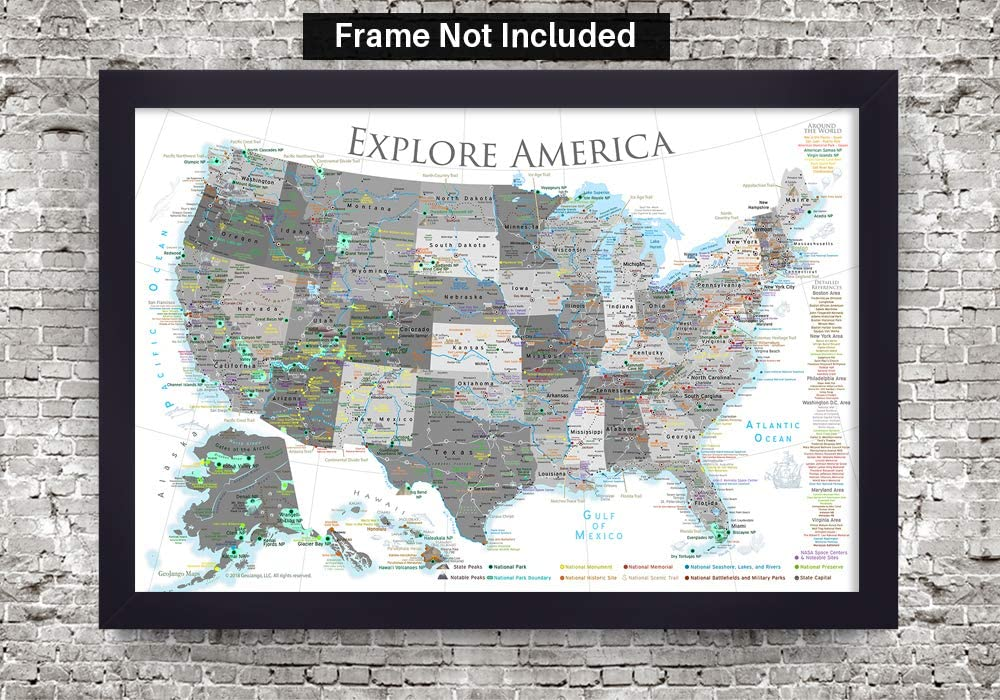36W x 24H inches GEOJANGO National Parks Map Poster with USA Travel Destinations Black /& White Edition