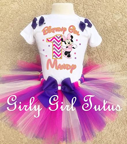 Minnie Mouse 1st Birthday Outfit.Minnie Mouse Chevron 1st Birthday Outfit Tutu Set