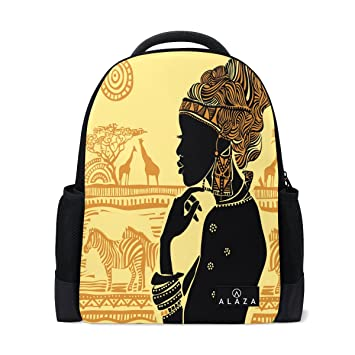 Amazon.com: ALAZA silueta de mujer africana cebra jirafa ...