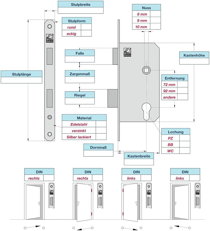 55mm x 72m x Einsteckschloss Zimmert/ürschloss ES 921 f/ür Buntbart DIN-Rechts