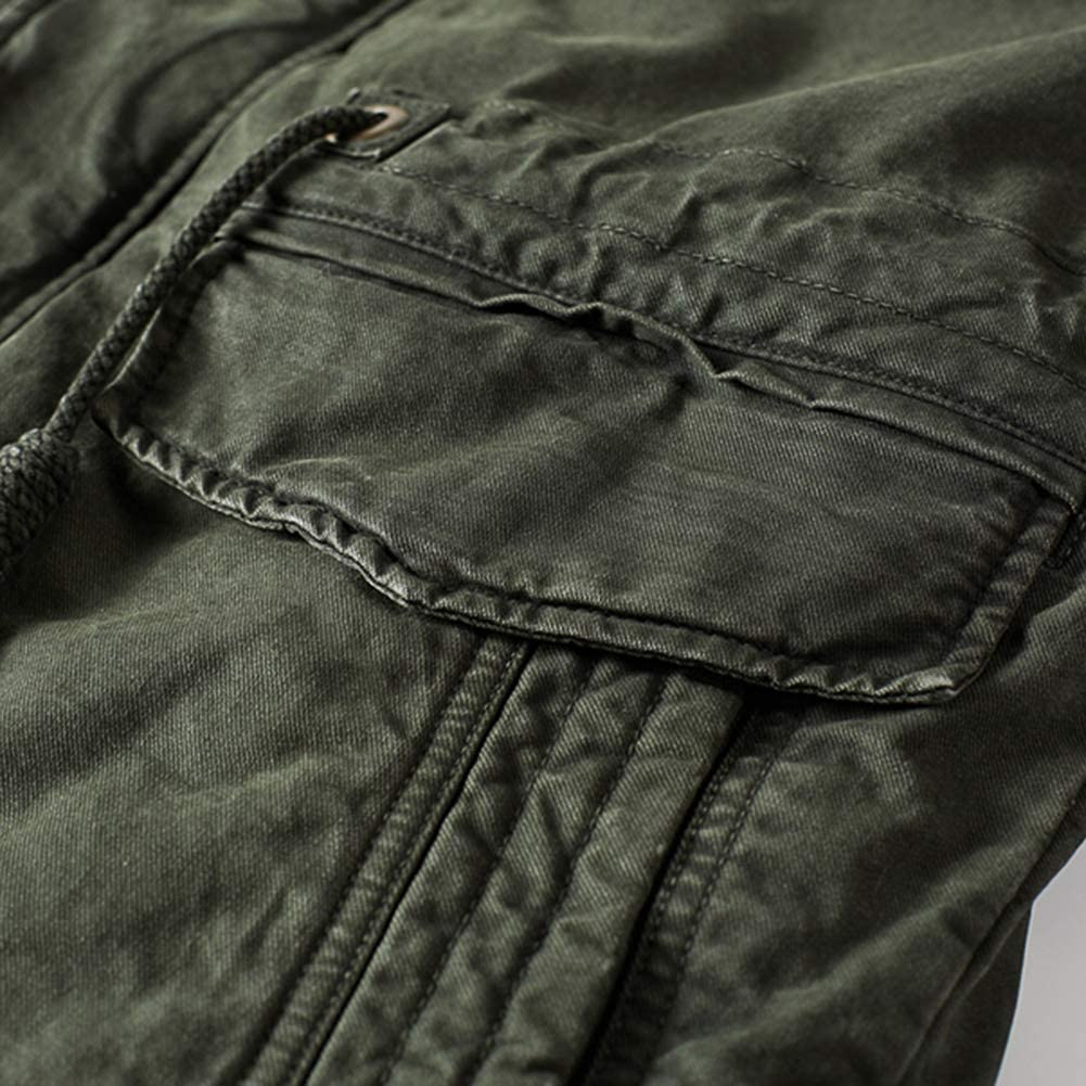 FLY HAWK Mens Thicken Parka Puffer Jacket Detachable Fleece Inner Lining Faux Fur Trim Hooded Outerwear