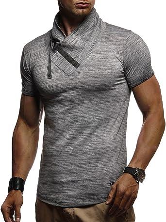 Leif Nelson Camiseta de Cuello Alto de los Hombres LN-980: Amazon ...