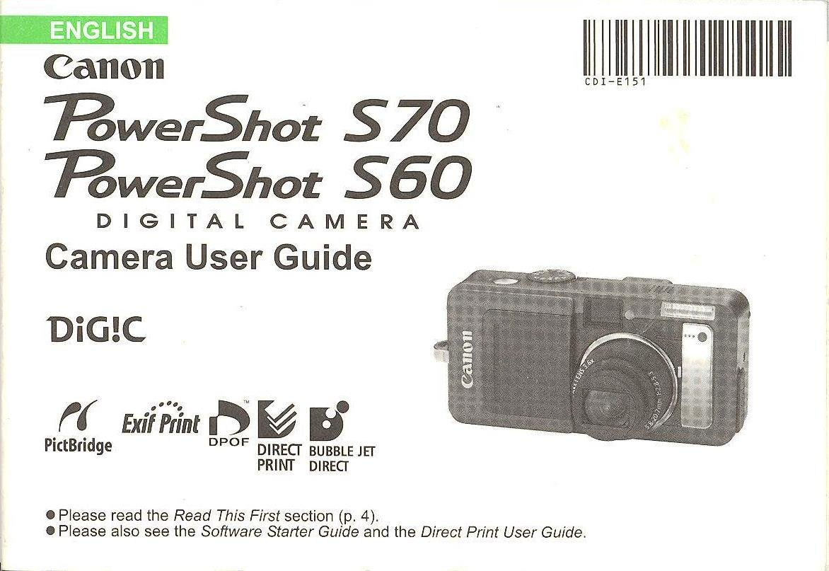 canon powershot s70 powershot s60 original user guide instruction rh amazon com powershot s60 manual powershot s60 manual