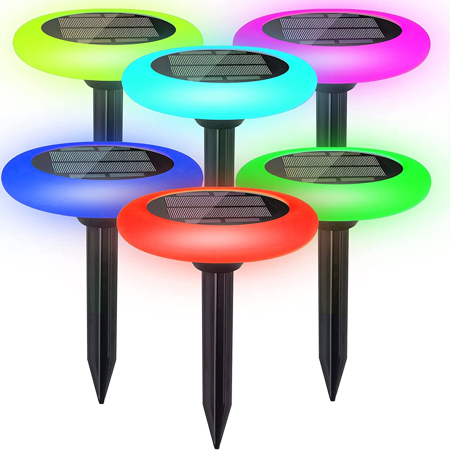Colorize Solar Lights Outdoor - Colorful Pathway Solar Light (6 Lights) Decorative Weatherproof Auto On/Off Outdoor Lights: Garden, Landscape, Patio, Pool, Yard