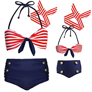 d4d1ce742d62 Amazon.com: Baby Girls 3 Pcs Swimwear Striped Halter Family Matching  Swimwear Mommy and Me Swimsuit: Clothing