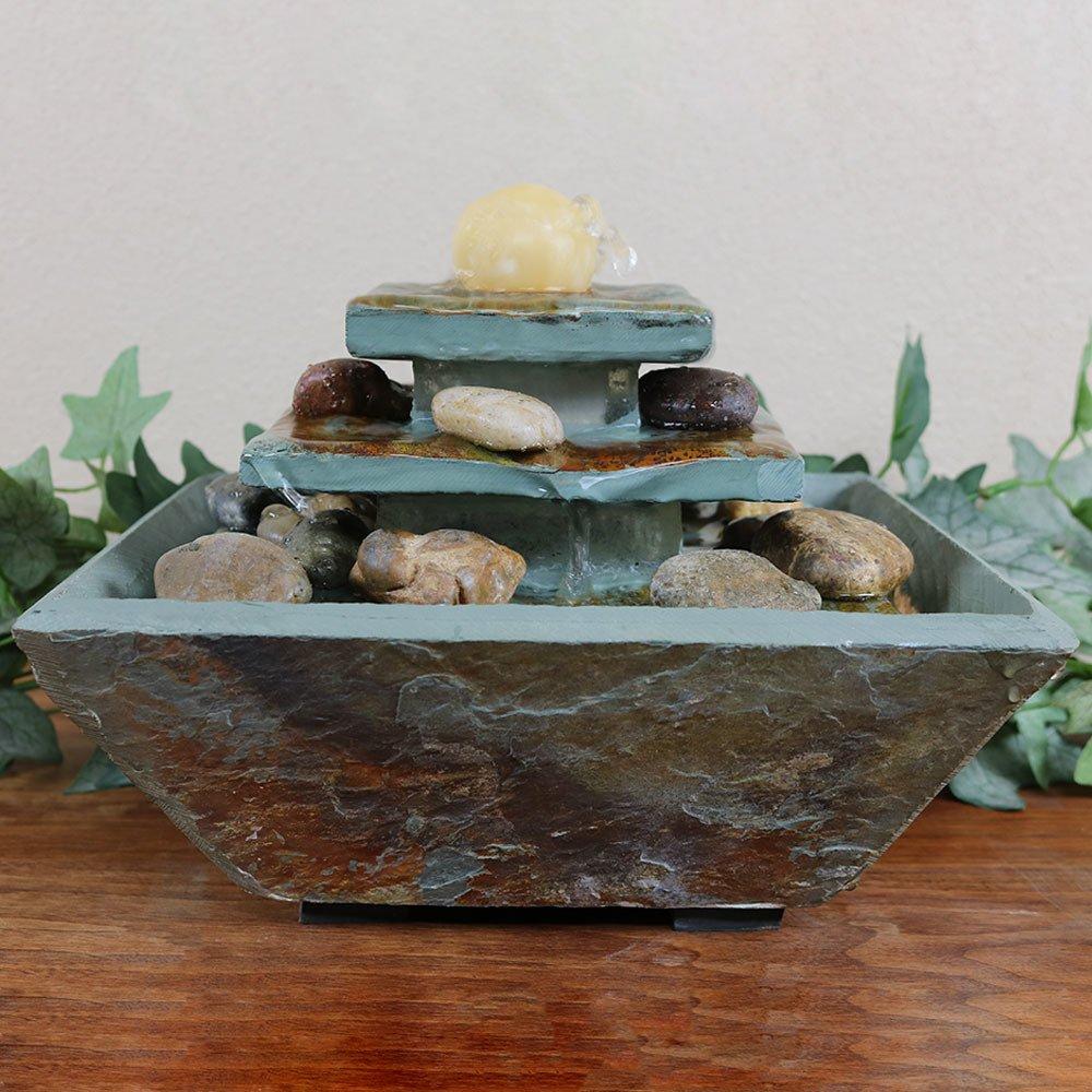 Amazon.com: Sunnydaze Ascending Slate Tiered Water Fountain With LED Light,  8 Inch: Sunnydaze Decor: Home U0026 Kitchen