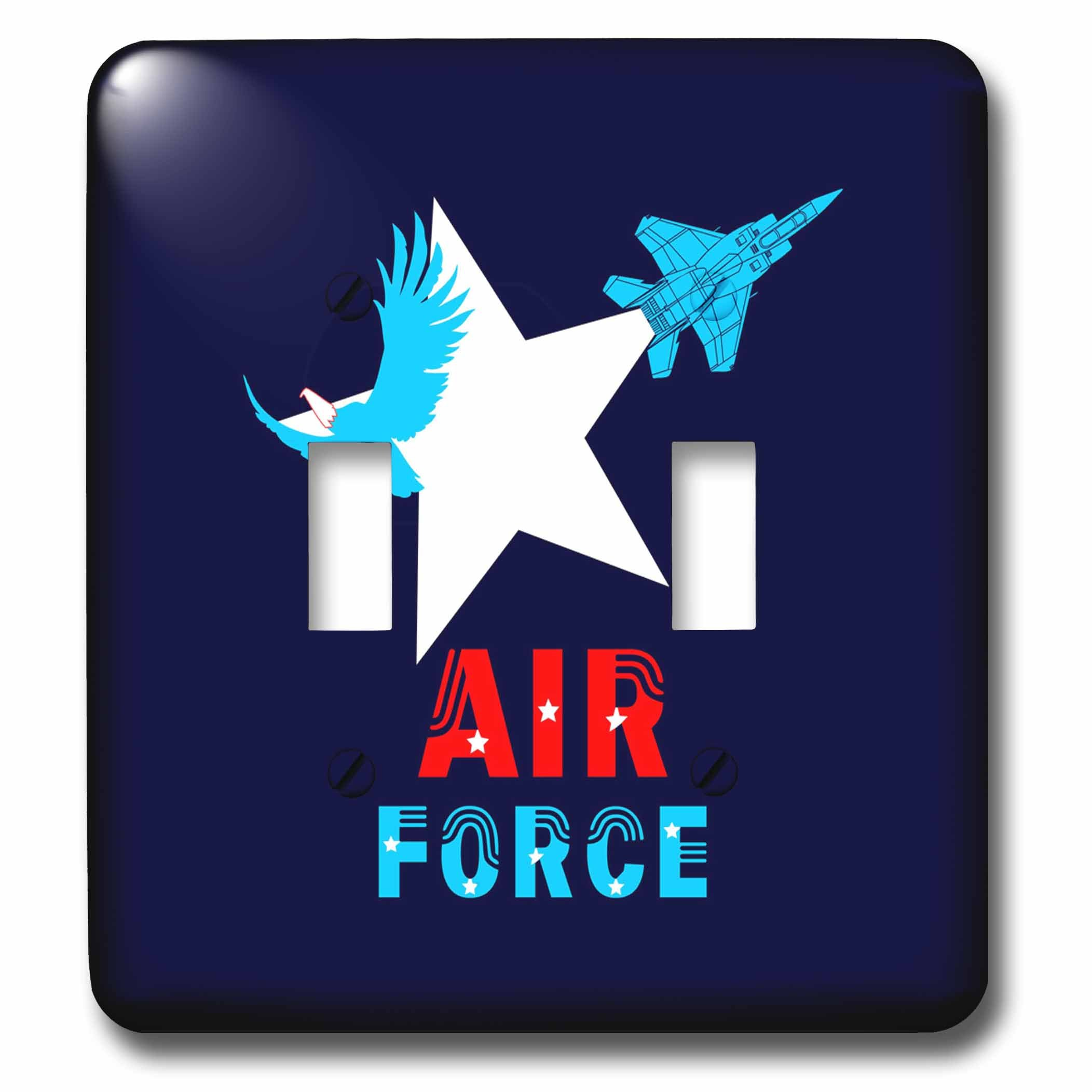 3dRose Alexis Design - Aviation - White star, bold eagle, military aircraft, text Air Force on blue - Light Switch Covers - double toggle switch (lsp_285886_2) by 3dRose (Image #1)