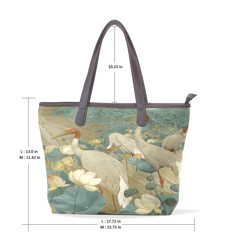 Womens Leather Tote Bag,Art Elegant White Bird,Large Handbag