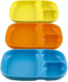 product image for Re-Play Set of 3 - Made in The USA Deep Divided Heavy Duty Dining Plates with 3 Compartments for All Ages - Orange, Yellow, Sky Blue (Spring)