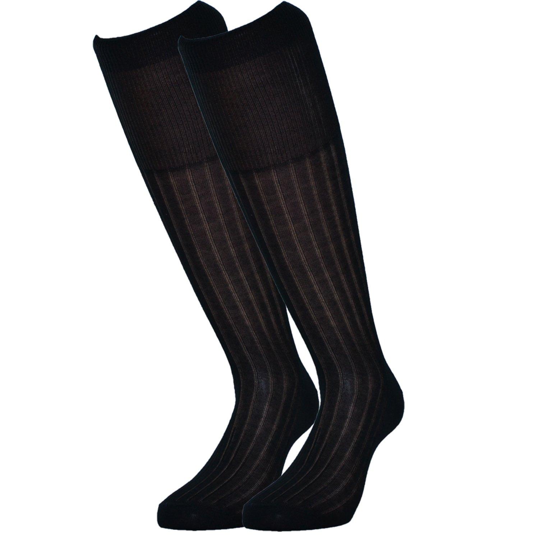 Fontana Calze, 12 paia di calze uomo lunghe in 100% Cotone Filo di Scozia velato e a costine. 7780