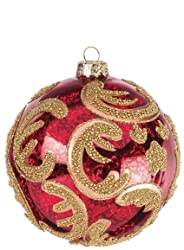 "Sullivans - 4"" Red Mercury Glass Ball Christmas Tree Ornament with Decorative Gold Beading and Details"