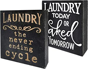 Agantree art Laundry The Never Ending Cycle, Funny Box Talk Sign Wood Block Plaque Decor, Funny Laundry Wash Room Accessories Decor