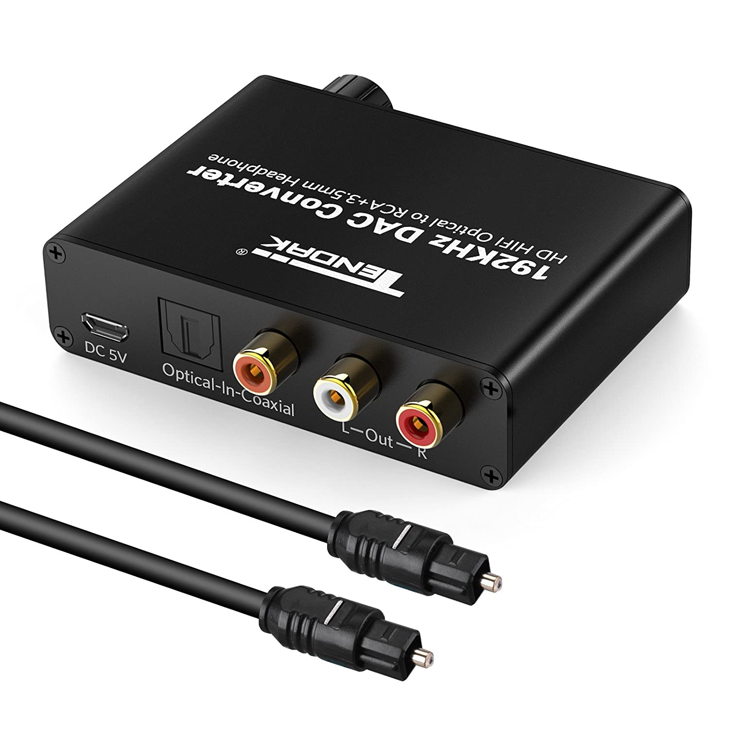 Audio Decoder - Tendak Digital to Analog DAC Converter with Optical SPDIF Toslink Coaxial to L/R 3.5mm Stereo Audio Adapter and Volume Control Optical Cable ...