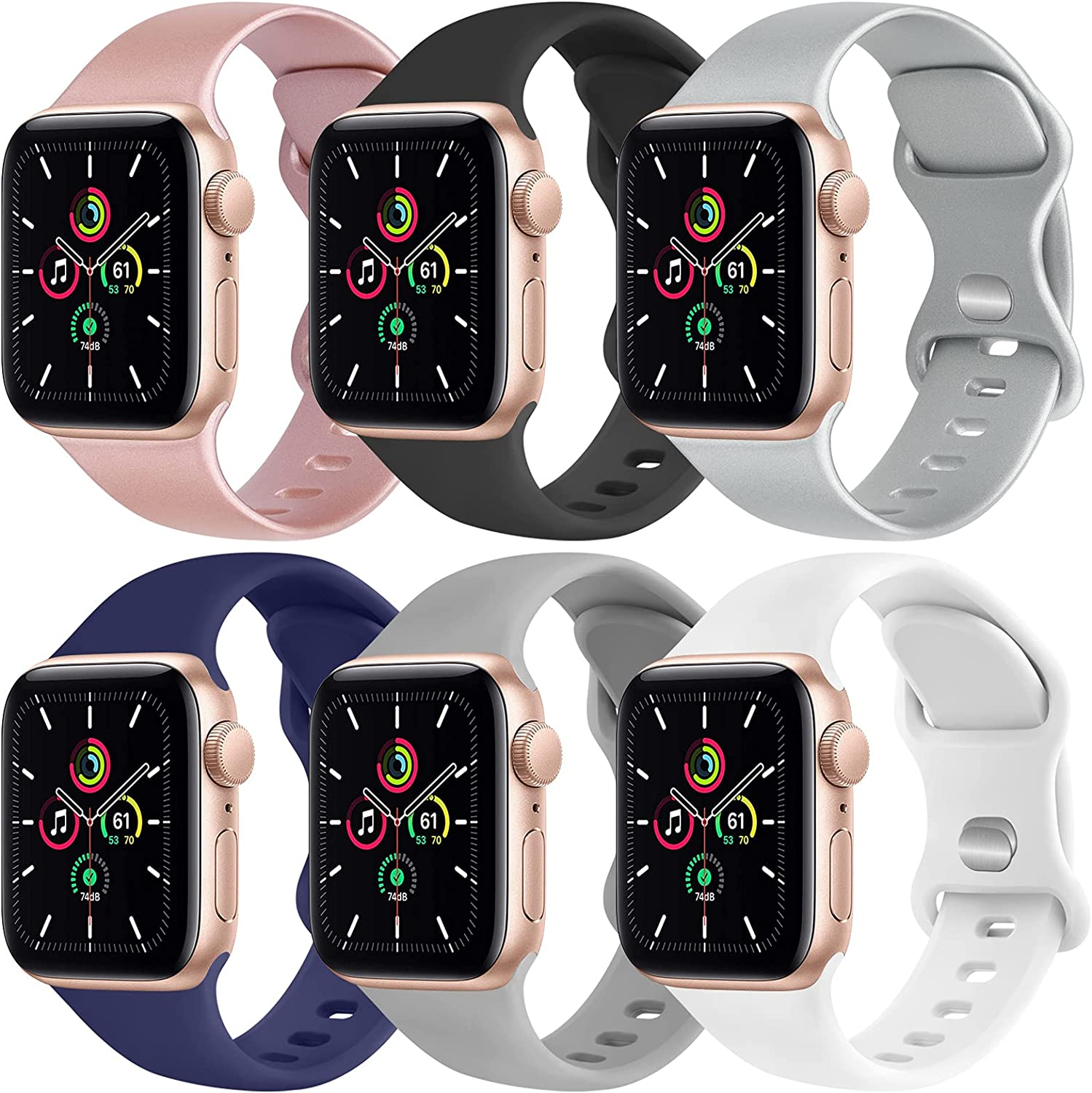 [6 Pack] Yisica Silicone Bands Compatible with Apple Watch Band 38mm 40mm for Women Men, Sport Wristbands for iWatch Series SE/6/5/4/3/2/1