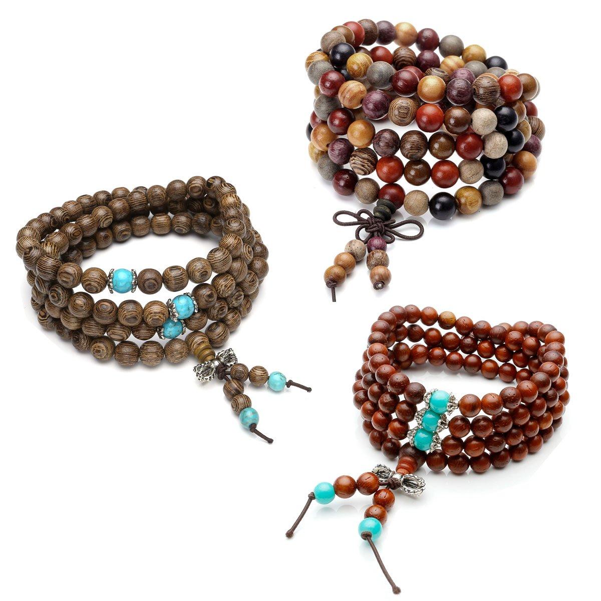 Top Plaza Unisex 108 Natural Wood 6mm 8mm Beads Wrap Bracelet Meditation Buddhist Rosary Mala Necklace (Wenge Wood+Multi Sandalwood+Cat Eye Sandalwood)