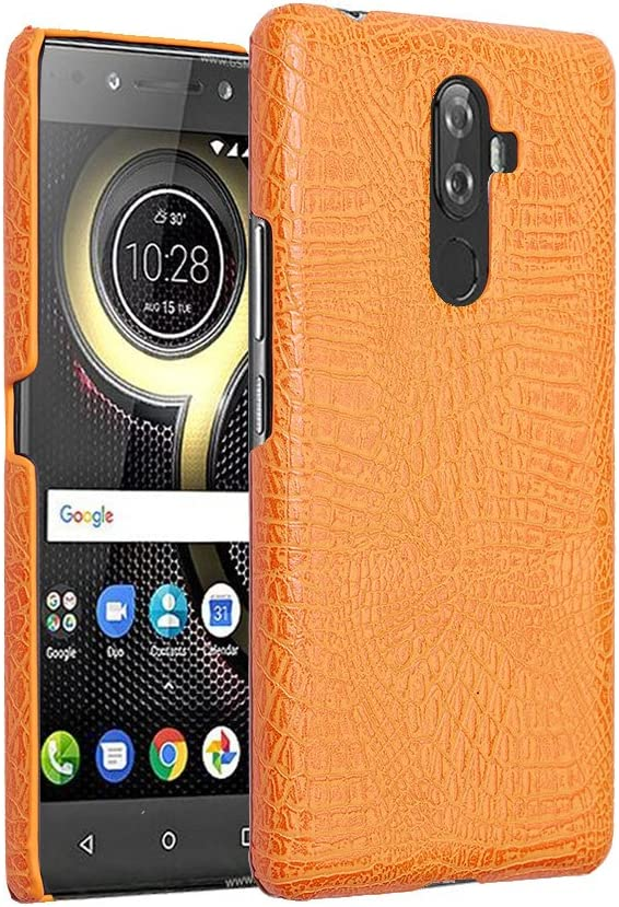 for Lenovo K8 Note,PU Leather Case Back Cover Crocodile Pattern-Yellow