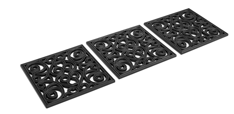 BIRDROCK HOME 12 x 12 Rubber Stepping Stones Tile | Set of 3 | Decorative Garden Mats | Sturdy Durable Steps | Perfect for Gardens Path, Flowerbed, Gravel, Dirt, Grass (12 x 12, Black)