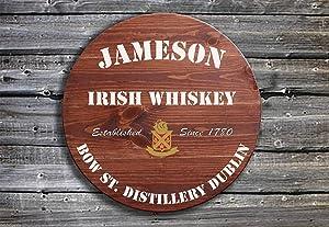 EricauBird Wall Art Jameson Irish Whiskey - Barrel End Style Wooden Pub Sign - Hand Made in Ireland Wood Plaque, Custom Gift