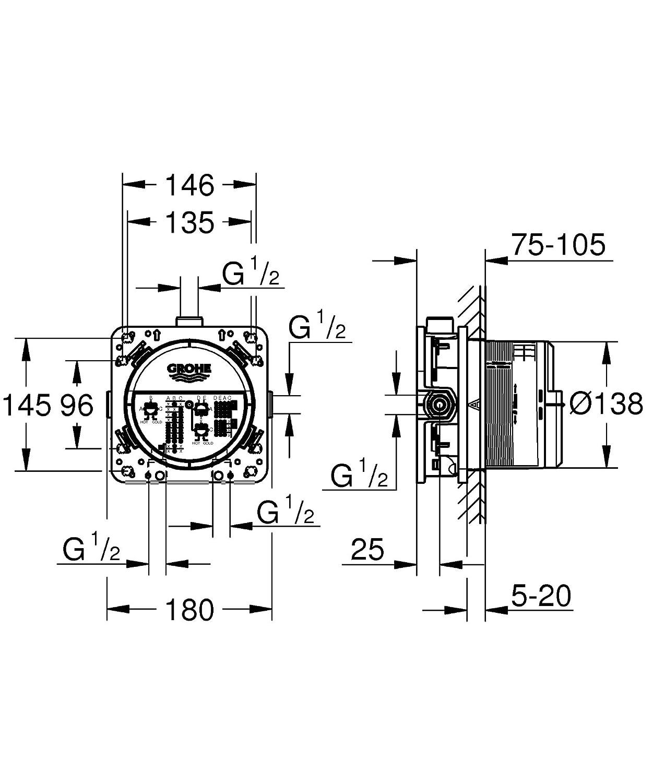 1/pezzi 35600000 Grohe Rapido Smart Box universale corpo da incasso DN 15