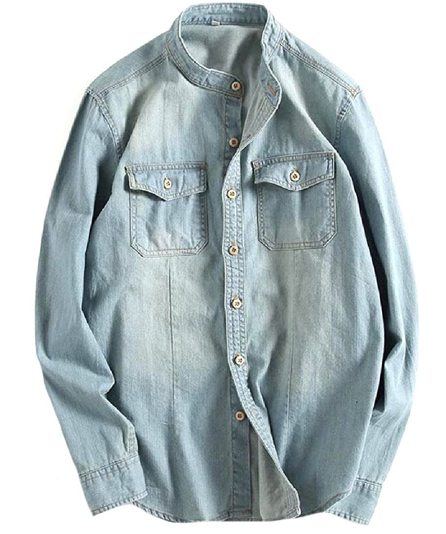 Yusky Mens Chinese Style Rugged Wear Original Fit Jean Shirts