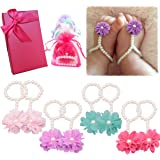Elesa Miracle Baby Girl Pearl Chiffon Barefoot Flower Sandals Value Set of 4