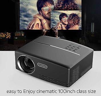 KBKG821 Mini proyector, Soporte de Video portátil 1080 P Full HD ...