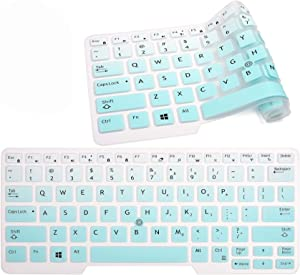 """Keyboard Skin Cover Compatible 14"""" Dell Latitude E7450 E7470 E5470 E7480 5480 5490 7480 7490 with Pointing, Ultra Thin Soft Silicone Dell Latitude 14"""" Keyboard Protector Skin(Gradual Mint Green)"""