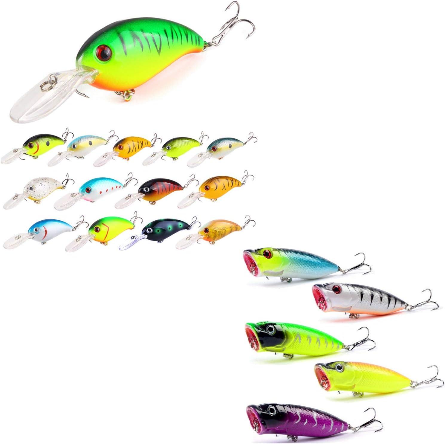 5PCS Fishing Bass Fish Topwater Popper Pencil Minnow Crankbaits lure hook baits
