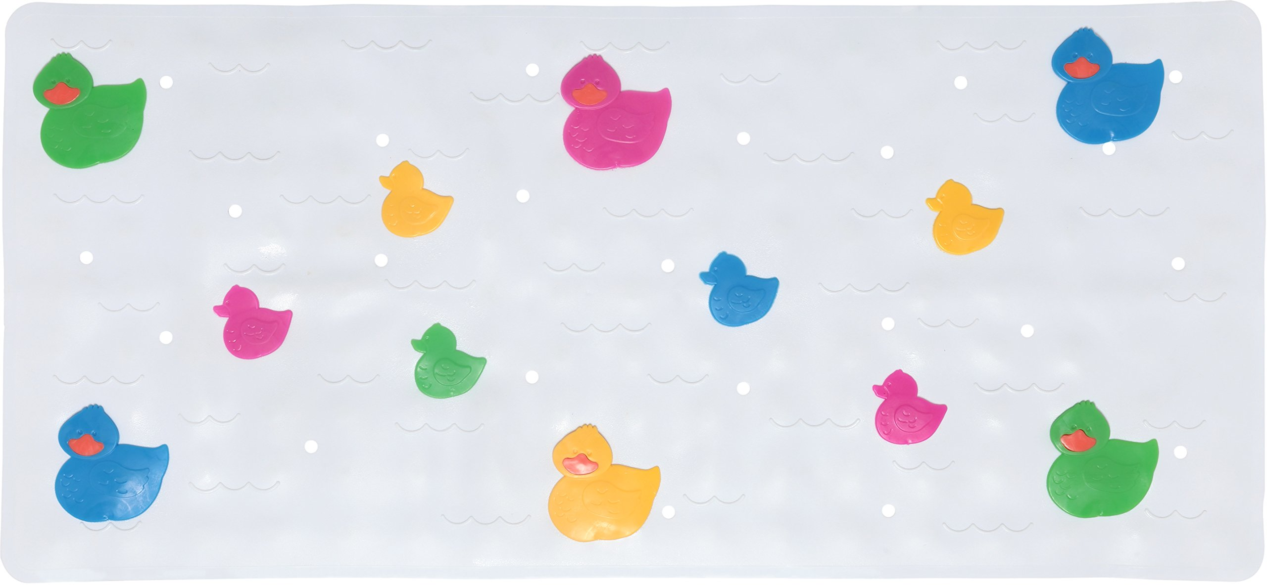 Babykin Baby Bath Mat Anti Slip Mildew Resistant & Lead Free PVC, 30.5 x 14.25, Ducks/Multicolor
