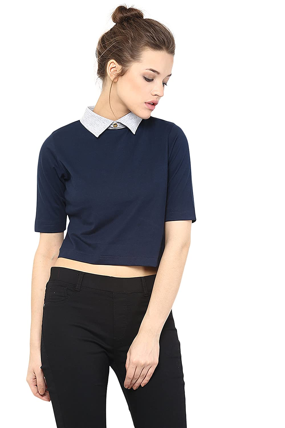 Miss Chase Women's Casual and Comfortable Half Sleeve Solid Collared Boxy Fit Crop Top Women's Tops