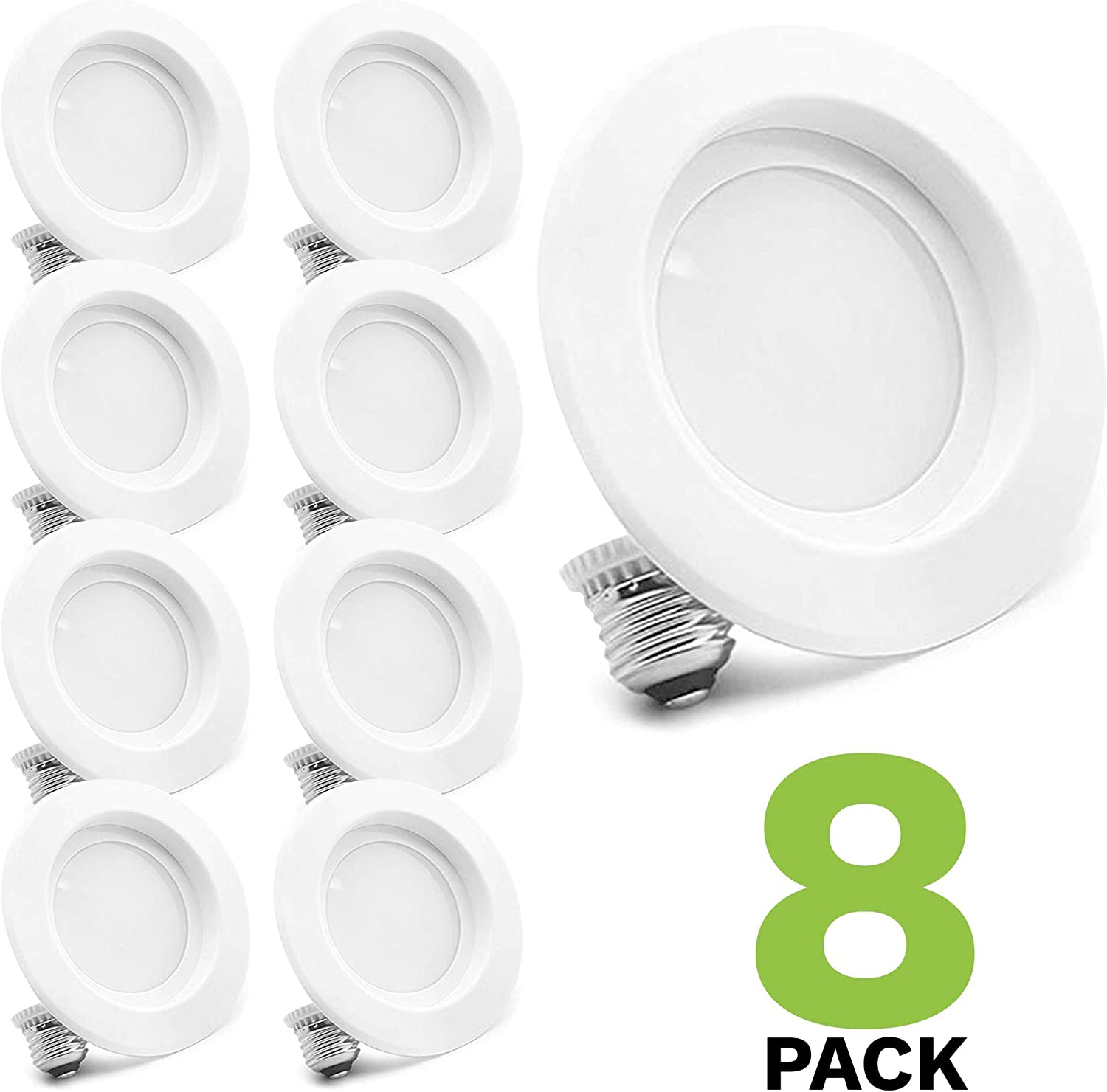 4 LED Recessed Lighting Pack of 8 Dimmable 65W Replacement Warm White
