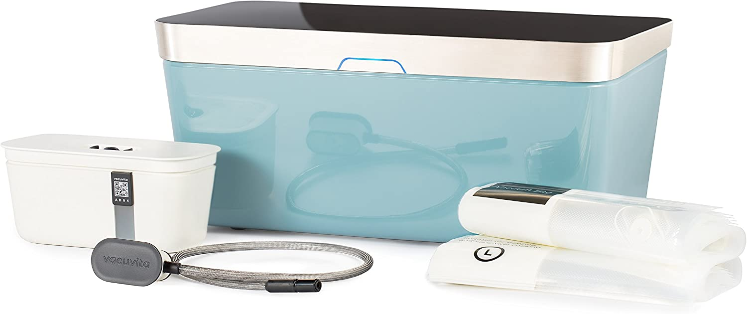 Vacuvita One Touch Vacuum Storage System, Resealable and Reusable Vacuum Sealer - Blue