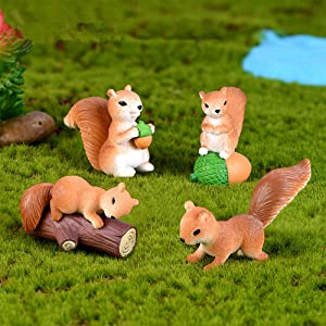 BYBYCD 4 Pcs Cute Mini Squirrel Animal Miniature Figurines Fairy Garden Ornaments Terrarium Decoration Accessories Resin Craft Supplies