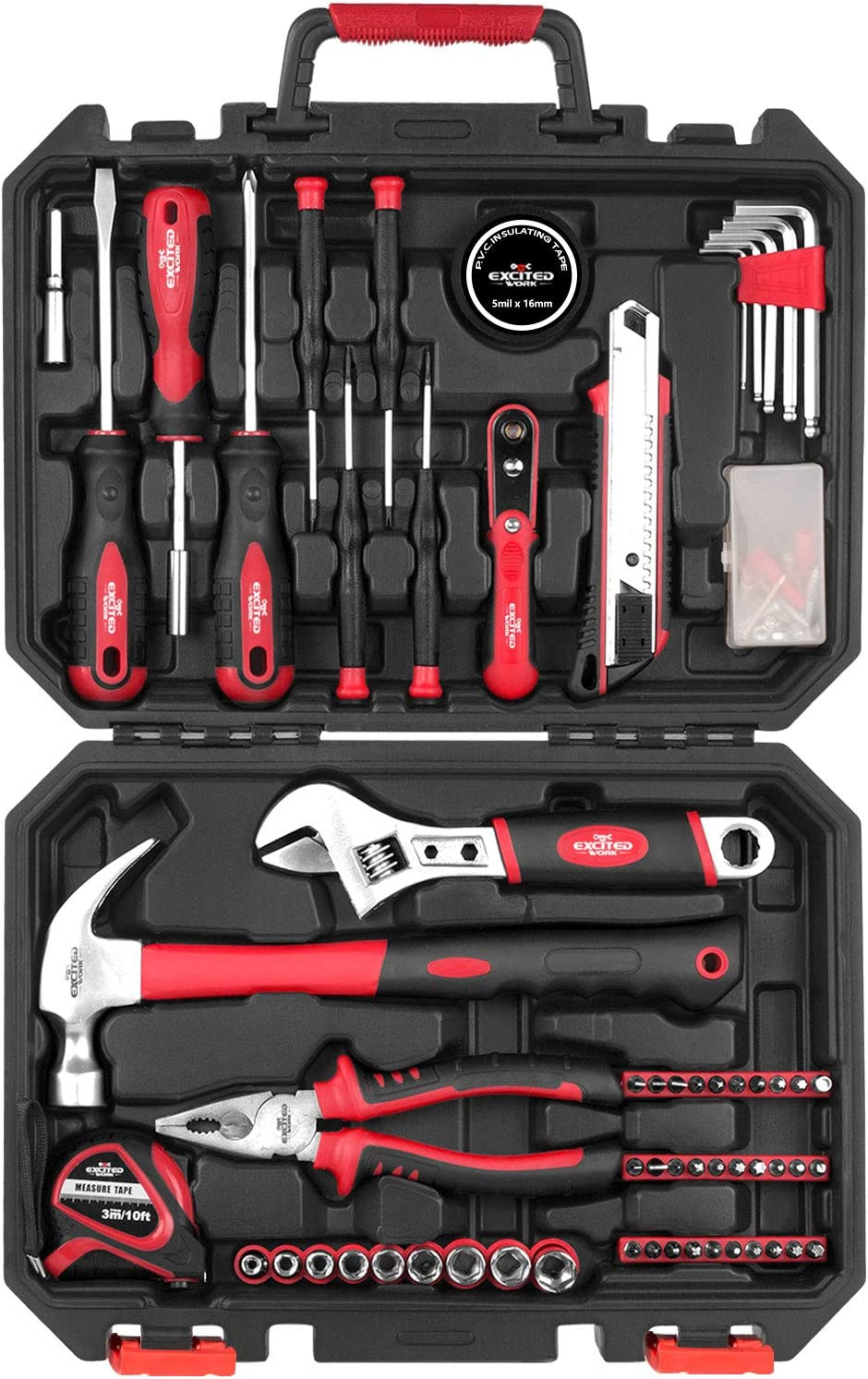 100 Piece Home Repair Tool Kit,EXCITED WORK General House Hand Tool Set with Plastic Storage Case- Socket Wrench Hammer