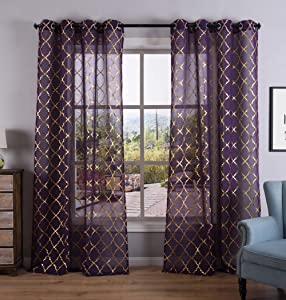Kotile Purple Sheer Curtains with Gold Foil Print Moroccan Tile Pattern for Girls Room, Grommet Voile Drapes, 52 x 84 Inch, Set of 2 Panels