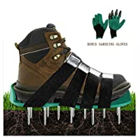 Lawn Aerator Shoes,Heavy Duty Aerating Spiked Soil Sandals with 4 Adjustable Straps and Metal Buckles for Aerating Your Lawn or Yard