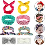 8 Pack Baby Girl Headbands - Aolvo Baby Turban Headband Knotted Bows Cotton Elastic Cute Hairband - Rabbit/Lace/ Floral/Chinese Knot Hairband Headwear for Infant Toddler Kids Newborn