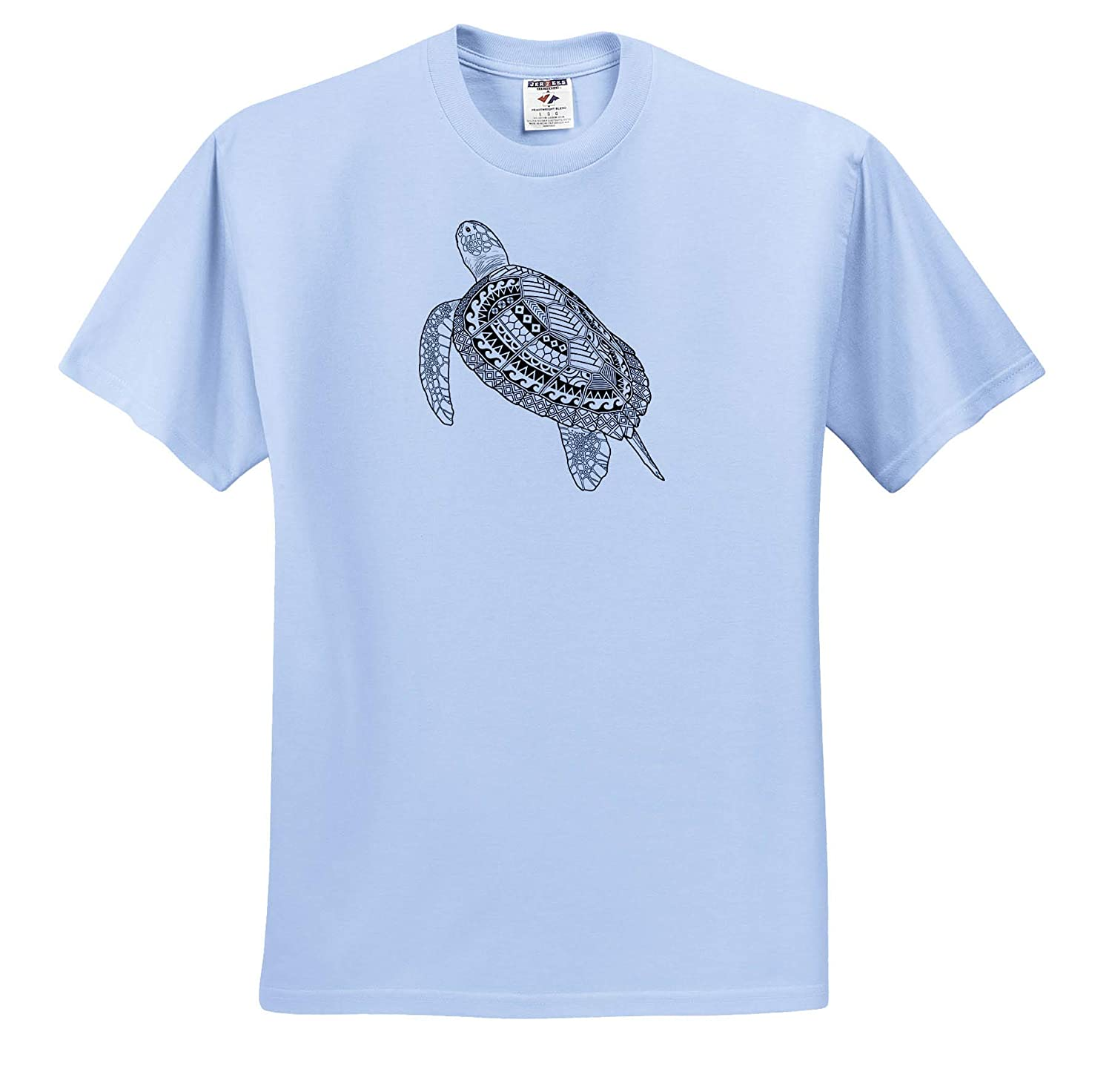 - T-Shirts 3dRose Macdonald Creative Studios A Black and White Detailed Polynesian Tribal sea Turtle Tribal Animals