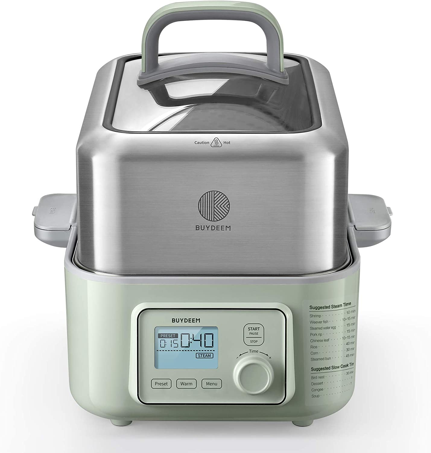 BUYDEEM G563 5-Quart Electric Food Steamer for Cooking, One Touch Vegetable Steamer, Digital Multifunctional Steamer, Quick Steam in 60s, Stainless Steel & Glass Lid, Cozy Greenish, 1500W