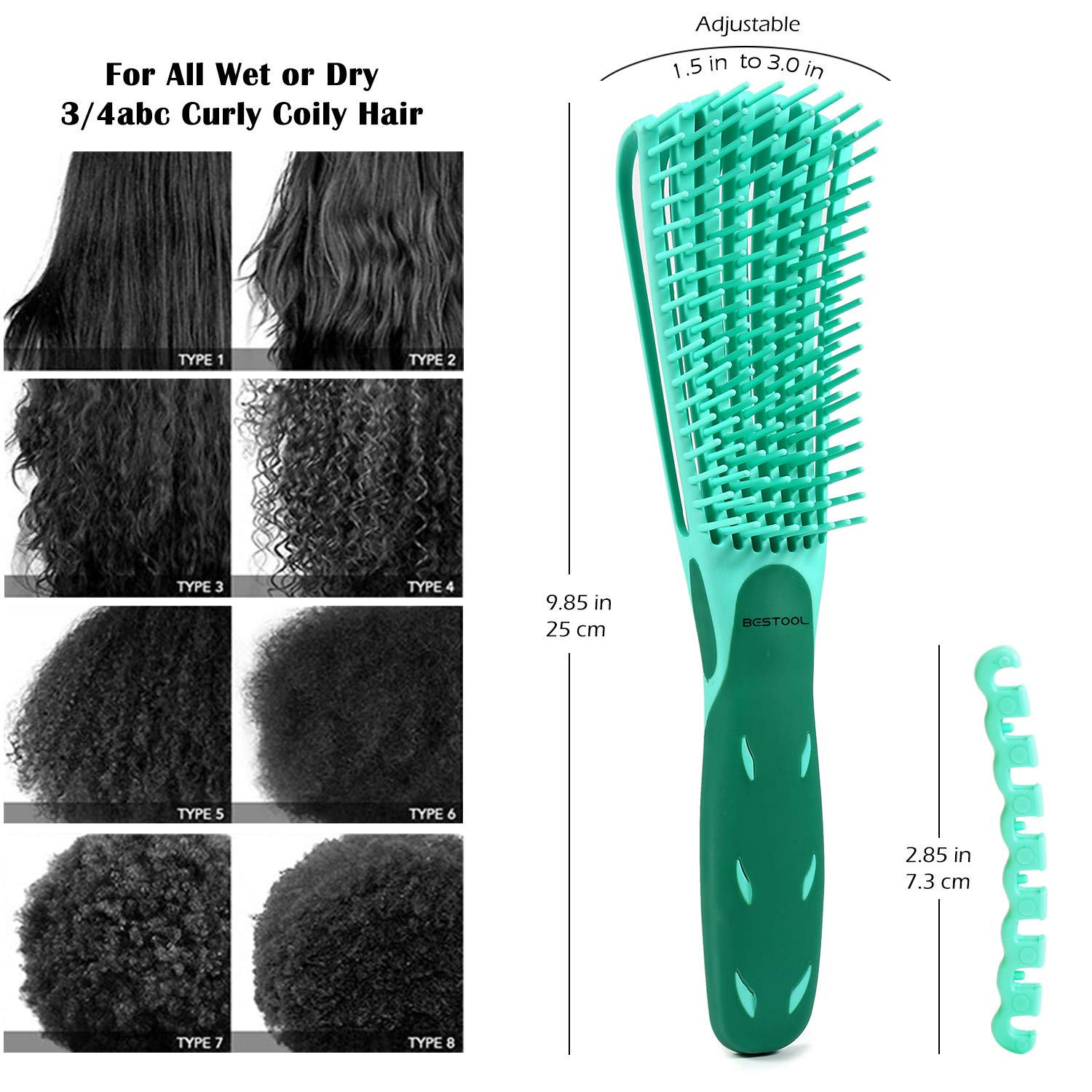 BESTOOL Detangling Brush for Black Natural Hair, Detangler Brush for Natural Black Hair Curly Hair Afro 3/4abc Texture, Faster n Easier Detangle Wet or Dry Hair with No Pain (Green)