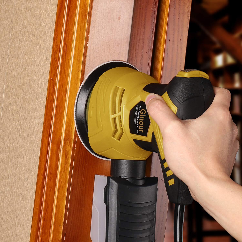 Orbital Sander Ginour 125mm Random Orbital Sander with Dust Collector for Sanding Wood 10Pcs Sanding Papers 300W 12000RPM 6 Variable Speeds